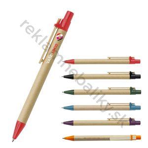 Ekologické reklamné pero s potlačou loga s dreveným klipom