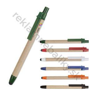 Ekologické reklamné pero s potlačou s dotykovou špičkou, reklamný predmet s potlačou