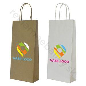 Reklamné papierové tašky na víno s potlačou loga v hnedej alebo bielej farbe spolu s kruteným uchom