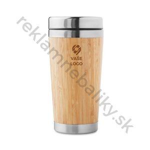 Cestovný pohár s telom z bambusu a s gravírovaním loga