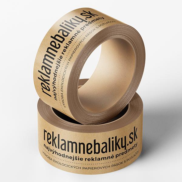 ekologické hnedé papierové lepiace pásky s potlačou loga alebo vlastného motívu